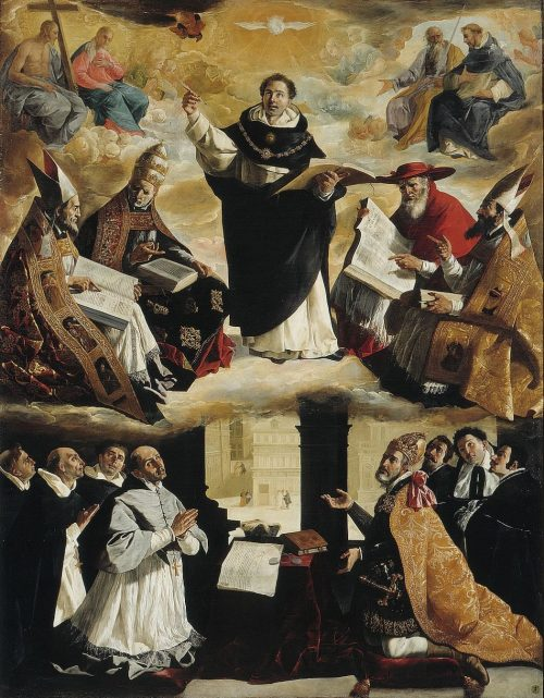 Apotheosis of St. Thomas Aquinas, From the painting by Francesco Zurbaran in Museum, Seville