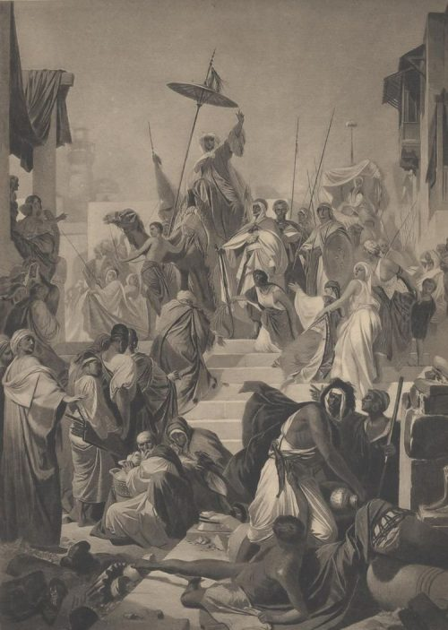 Mohammed, Preaching the Unity of God, Enters the City of Mecca After the painting by A. Müller