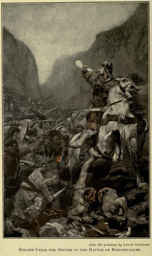 Roland Calls for Succor in the Battle of Roncesvalles After the painting by Louis Guesnet