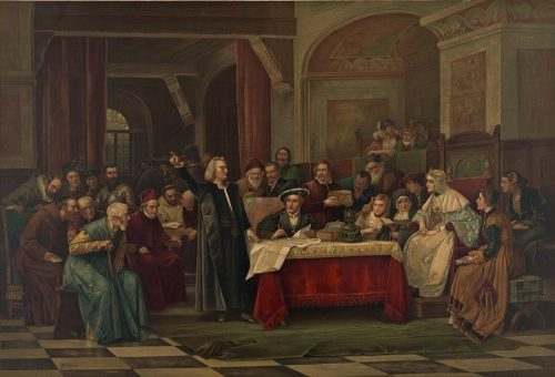 Columbus at the Court of Spain After the painting by Vaczlav Brozik, Metropolitan Museum, New York