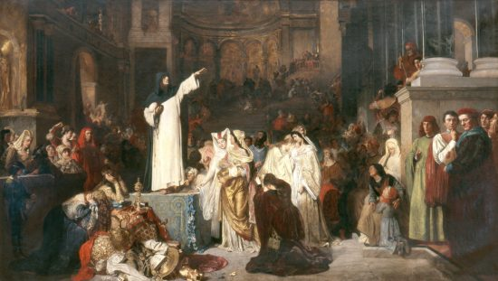 Savonarola Preaching in Denunciation of Luxury, Vice and Corruption in Florence. End of XV Century. After painting (1879) by Ludwig Von Langenmantel