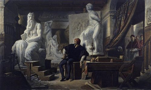 Michael Angelo in His Studio Visited by Pope Julius II After the painting by Haman