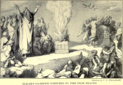 Elijah's Sacrifice Consumed by Fire from Heaven After the painting by C.G. Pfannschmidt