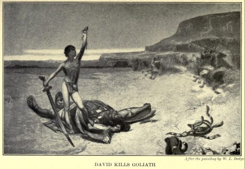 David Kills Goliath After the painting by W.L. Dodge