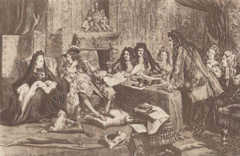 Ministerial Conference of Louis XIV. at the Salon of Madam de Maintenon After the painting by John Gilbert