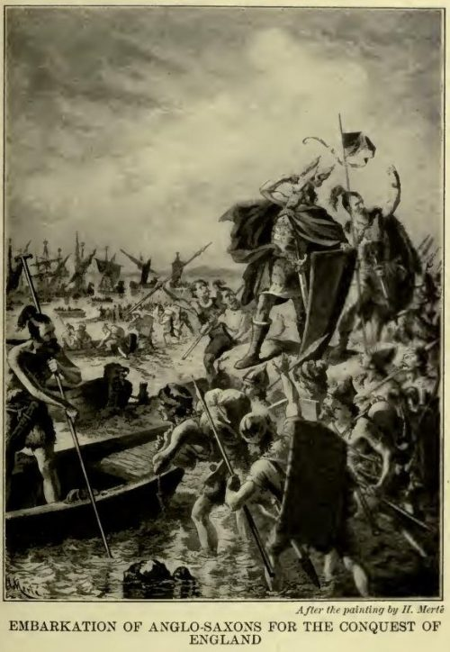 Embarkation of Anglo-Saxons for the Conquest of England After the painting by H. Merté