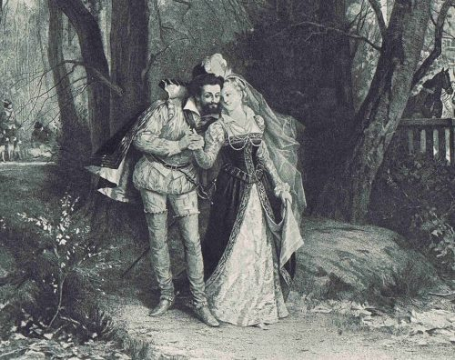 Henry of Navarre and La Belle Fosseuse After the painting by Antony Paul Emile Morlon