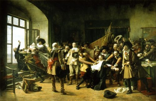 The Imperial Counsellors are Thrown Out of the Window by the Bohemian Delegates painting by Václav Brožík