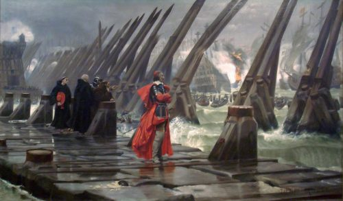 Richelieu Watches the Siege Operations from the Dam at Rochelle painting by Henri-Paul Motte