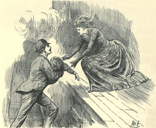 Sylvie and Bruno - Crossing The Line Illustration by Harry Furniss