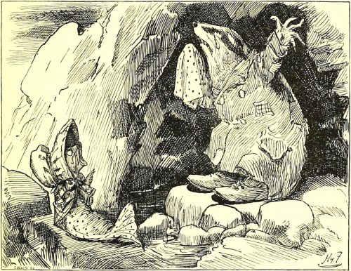 Sylvie and Bruno - The Father-Badger, Writhing In A Cave Illustration by Harry Furniss