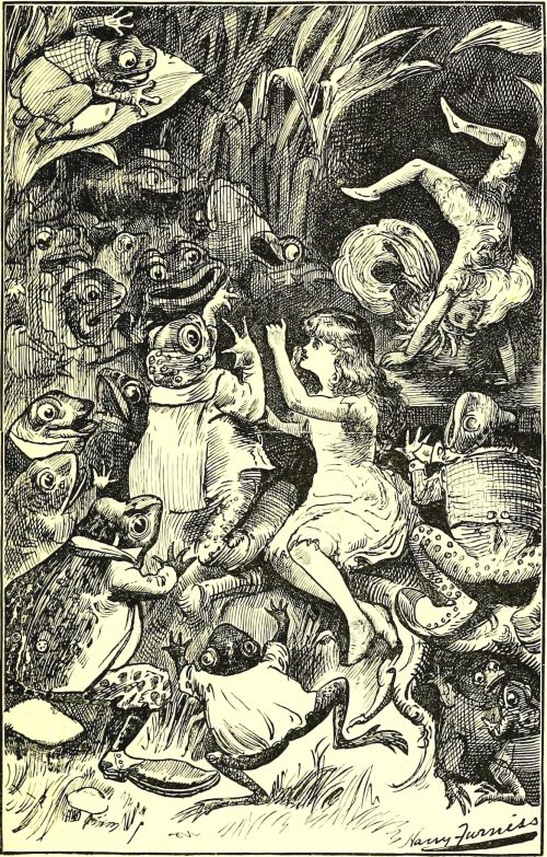 Sylvie and Bruno - The Frogs' Birthday-Treat Illustration by Harry Furniss