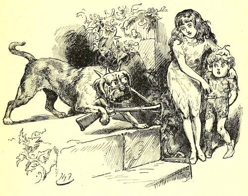 Sylvie and Bruno - The Mastiff-Sentinel Illustration by Harry Furniss