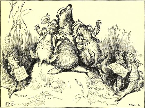 Sylvie and Bruno - Three Badgers On A Mossy Stone Illustration by Harry Furniss