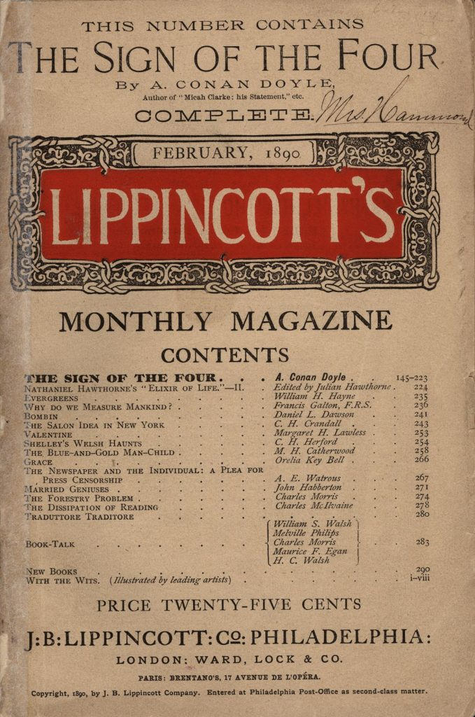 Sherlock Holmes The Sign of The Four Lippincott's Monthly Magazine 1890