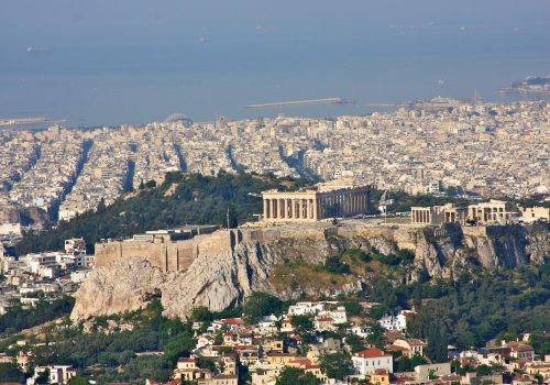 Acropolis Athens Greece as seen from Exarchion Photograph