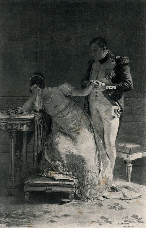 Napoleon Informs Empress Josephine of His Intention to Divorce Her After the painting by Eleuterio Pagliano