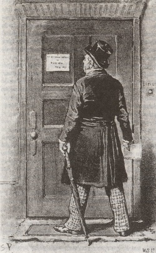 Sherlock Holmes The Red-Headed League the door was shut and locked, with a little square of cardboard hammered on to the middle of the panel with a tack