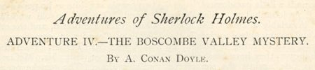 Adventures of Sherlock Holmes The Boscombe Valley Mystery : The Strand Magazine