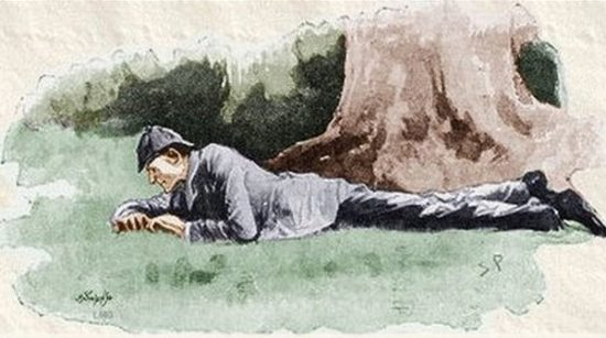 Sherlock Holmes The Boscombe Valley Mystery Holmes lay down once more upon his face with a little cry of satisfaction