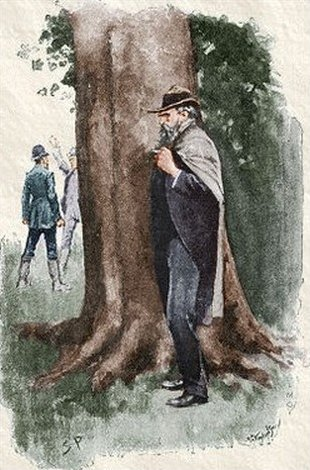 Sherlock Holmes The Boscombe Valley Mystery I found him talking with his son, so I smoked a cigar and waited behind a tree until he should be alone