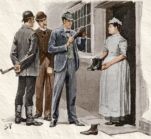Sherlock Holmes The Boscombe Valley Mystery We called at the door, when the maid, at Holmes' request, showed us the boots