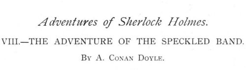 Sherlock Holmes The Adventure of the Speckled Band