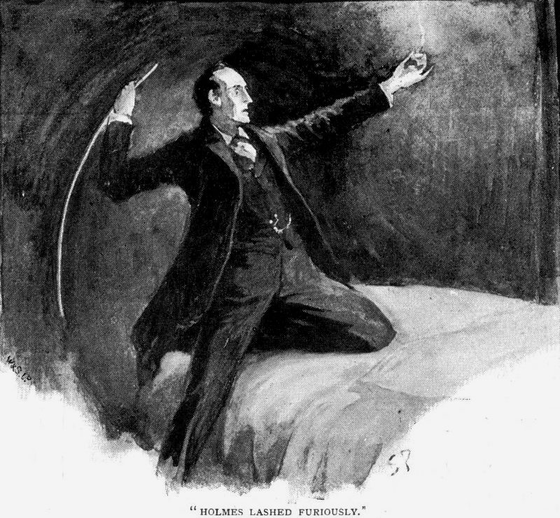 Sherlock Holmes The Speckled Band Holmes sprang from the bed, struck a match, and lashed furiously with his cane at the bell-pull