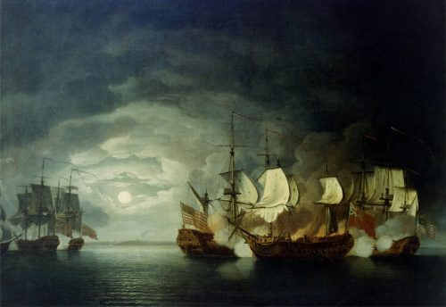 Fight of the Bonhomme Richard and HMS Serapis, painting by Thomas Mitchell