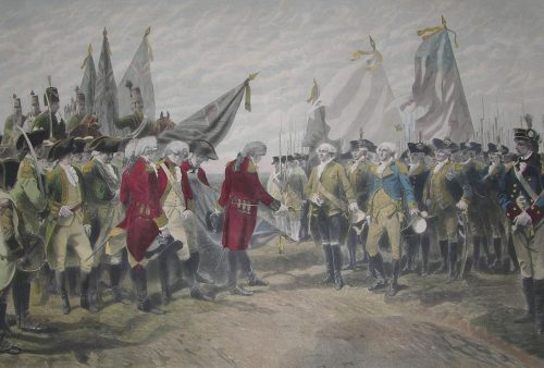 Surrender of General Cornwallis at Yorktown. After the painting by Charles Édouard Armand Dumaresq