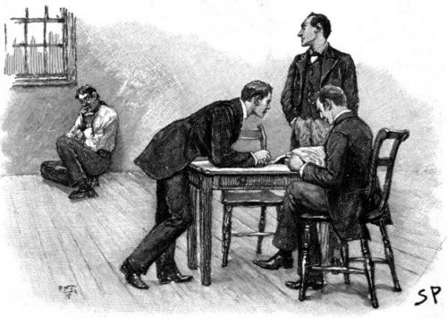 Sherlock Holmes The Stock-Broker's Clerk glancing at the haggard figure huddled up by the window