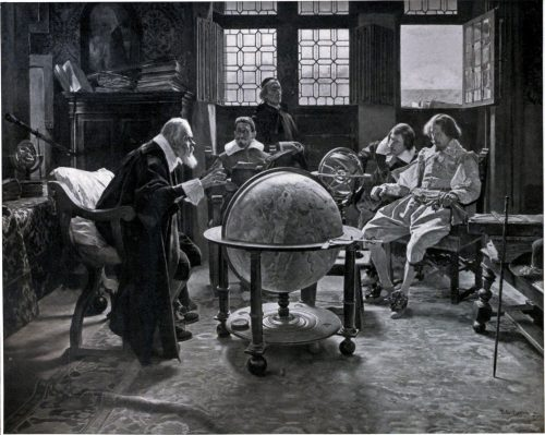 John Milton Visits the Aged Galileo After the painting by Tito Lessi