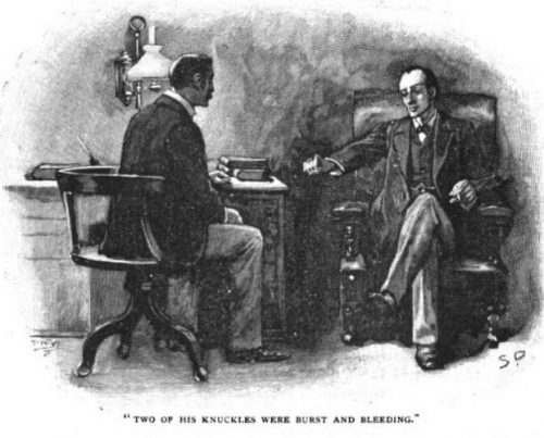 Sherlock Holmes The Final Problem two of his knuckles were burst and bleeding