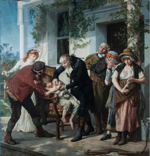Dr. Jenner Vaccinates a Child, painting by George Gaston Melingue