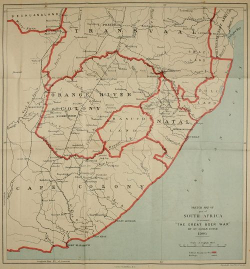 The Great Boer War Map of south Africa