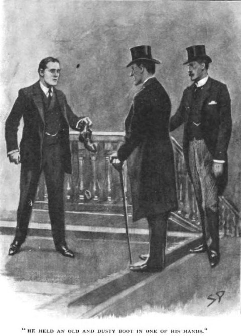 Sherlock Holmes The Hound of the Baskervilles he held an old and dusty boot in one of his hands