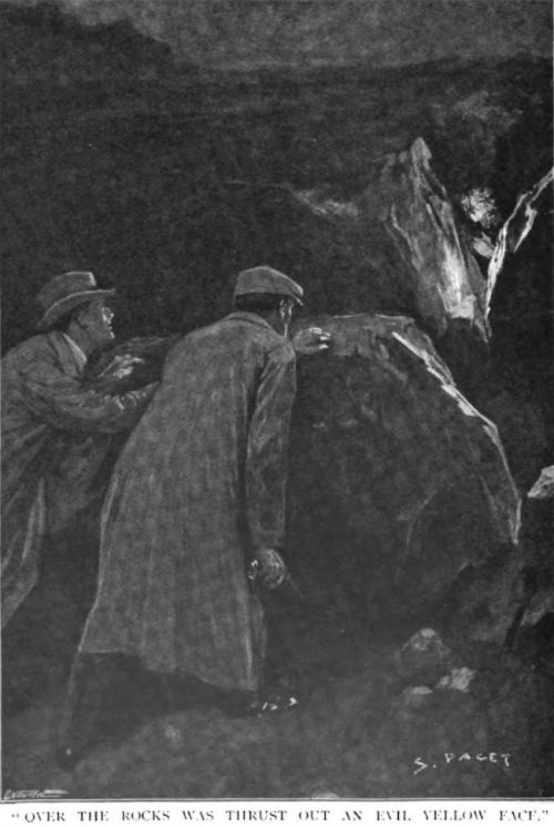Sherlock Holmes The Hound of the Baskervilles Over the rocks was thrust out an evil yellow face, a terrible animal face