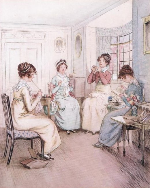 Quality Street Play Miss Fanny is reading aloud from a library book while the others sew or knit