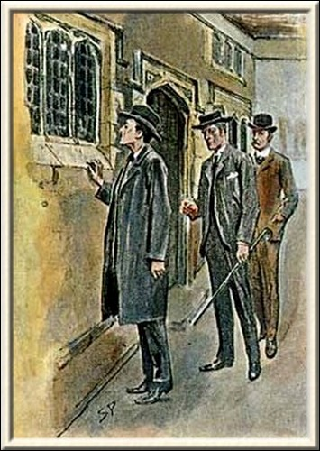 Sherlock Holmes The Three Students With his neck craned, he looked into the room