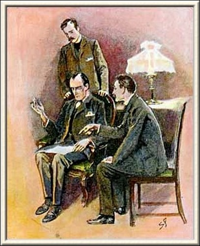 Sherlock Holmes The Golden Pince-Nez The body was found near the bureau, and just to the left of it, as marked upon that chart