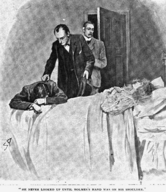 Sherlock Holmes The Missing Three-Quarter So absorbed was he by his bitter grief that he never looked up until Holmes's hand was on his shoulder