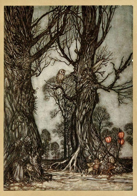 Peter Pan Linkmen running in front carrying winter cherries