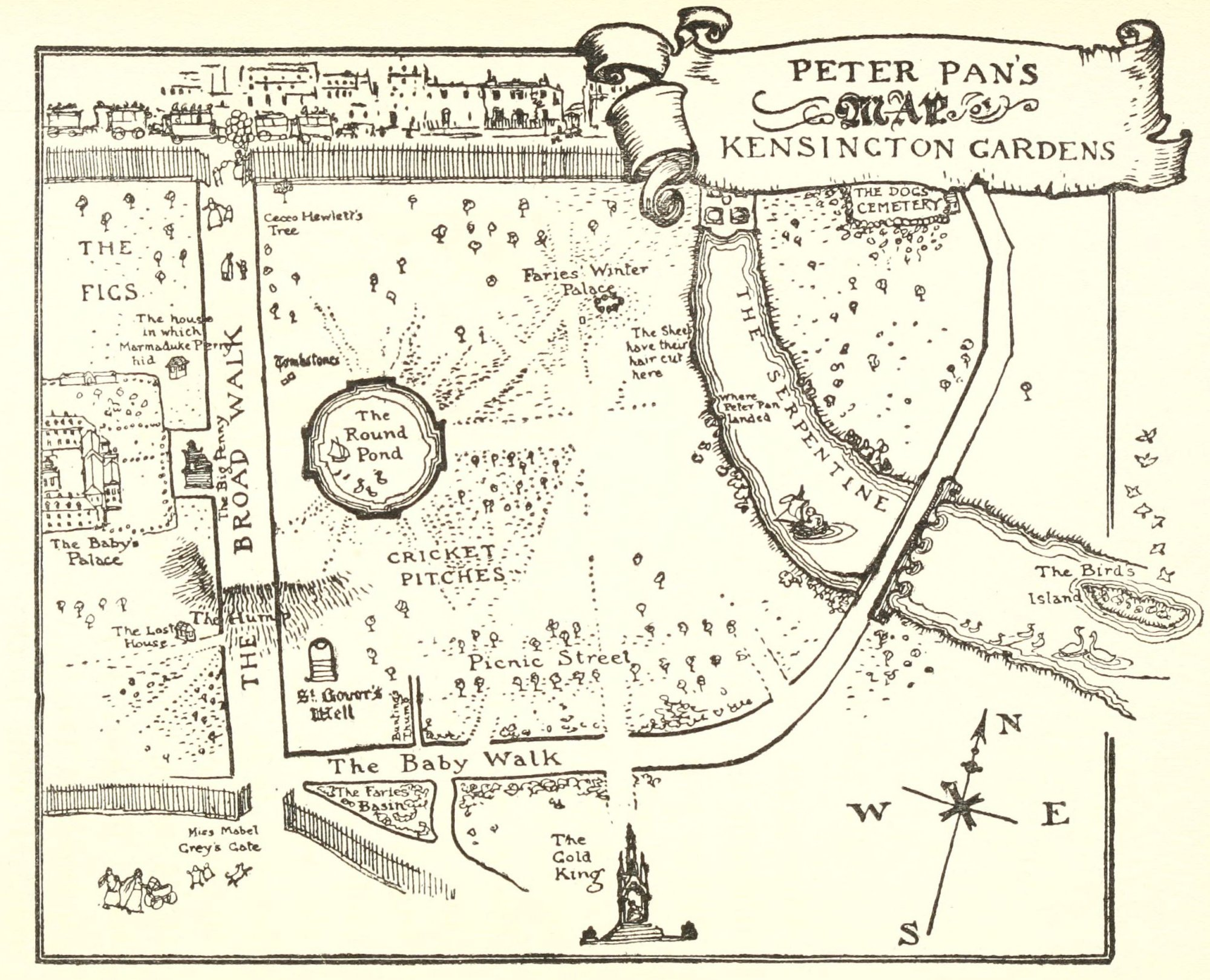 Peter Pans Map of Kensington Gardens