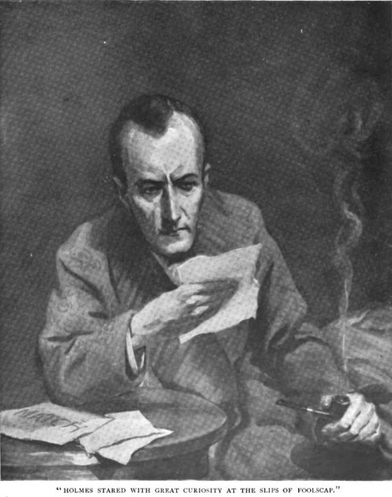 Sherlock Holmes The Adventure of the Red Circle Homes, staring with great curiosity at the slips of foolscap