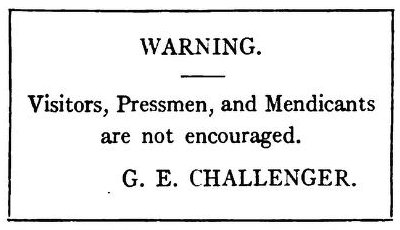 The Poison Belt Professor Challenger's warning sign