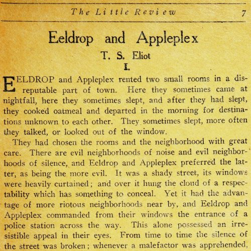 The Little Review : Eeldrop and Appleplex by T. S. Eliot