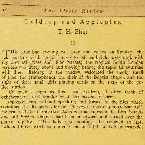 The Little Review : Eeldrop and Appleplex Part II by T. S. Eliot