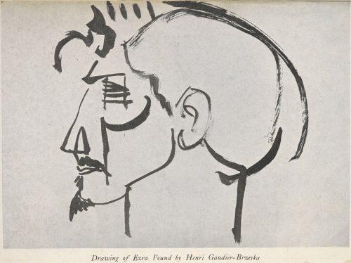 Drawing of Ezra Pound by Henri Gaudier-Brzeska