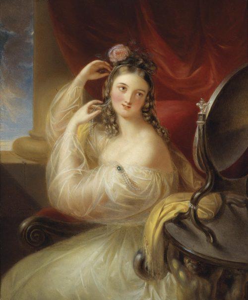 Dame vor dem Toilettspiegel Painting by Karl Agricola