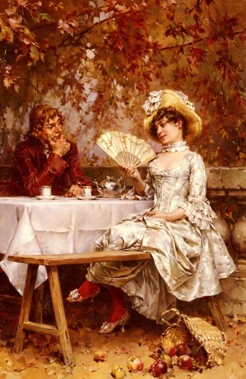 Tea in the Garden, Autumn Painting by Frederick Hendrik Kaemmerer